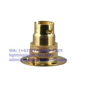 Fitting Lampu Navigasi / Emergency BA15d Kuningan (Brass) w/ Backplate