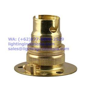 Fitting Lampu Navigasi / Emergency B22 Kuningan (Brass) w/ Backplate